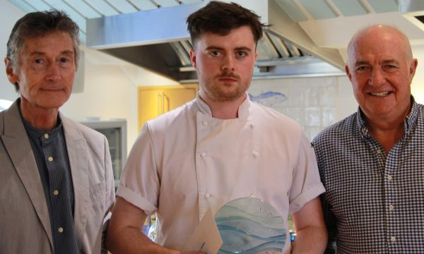 Roger Puffet left joins Rick Stein to present Henry with his award 2 600x360 - RICK STEIN JOINS APPRENTICESHIP WEEK CELEBRATIONS